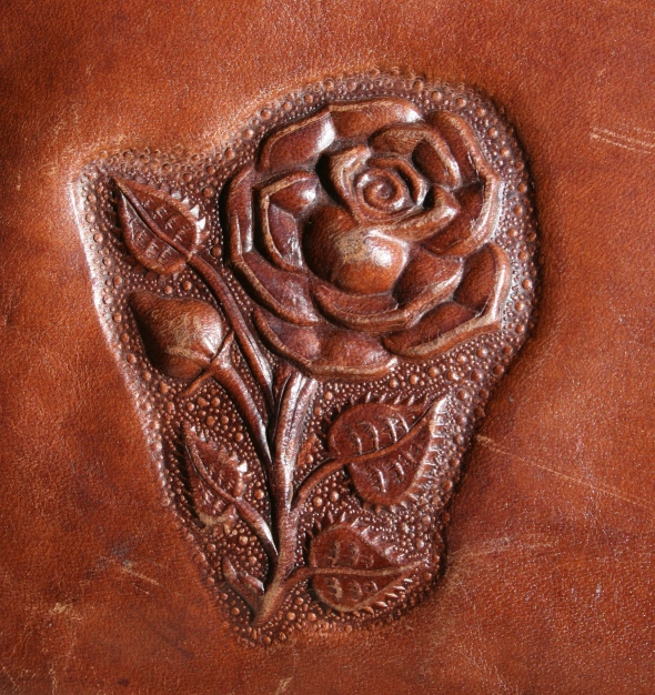 tooled leather rose
