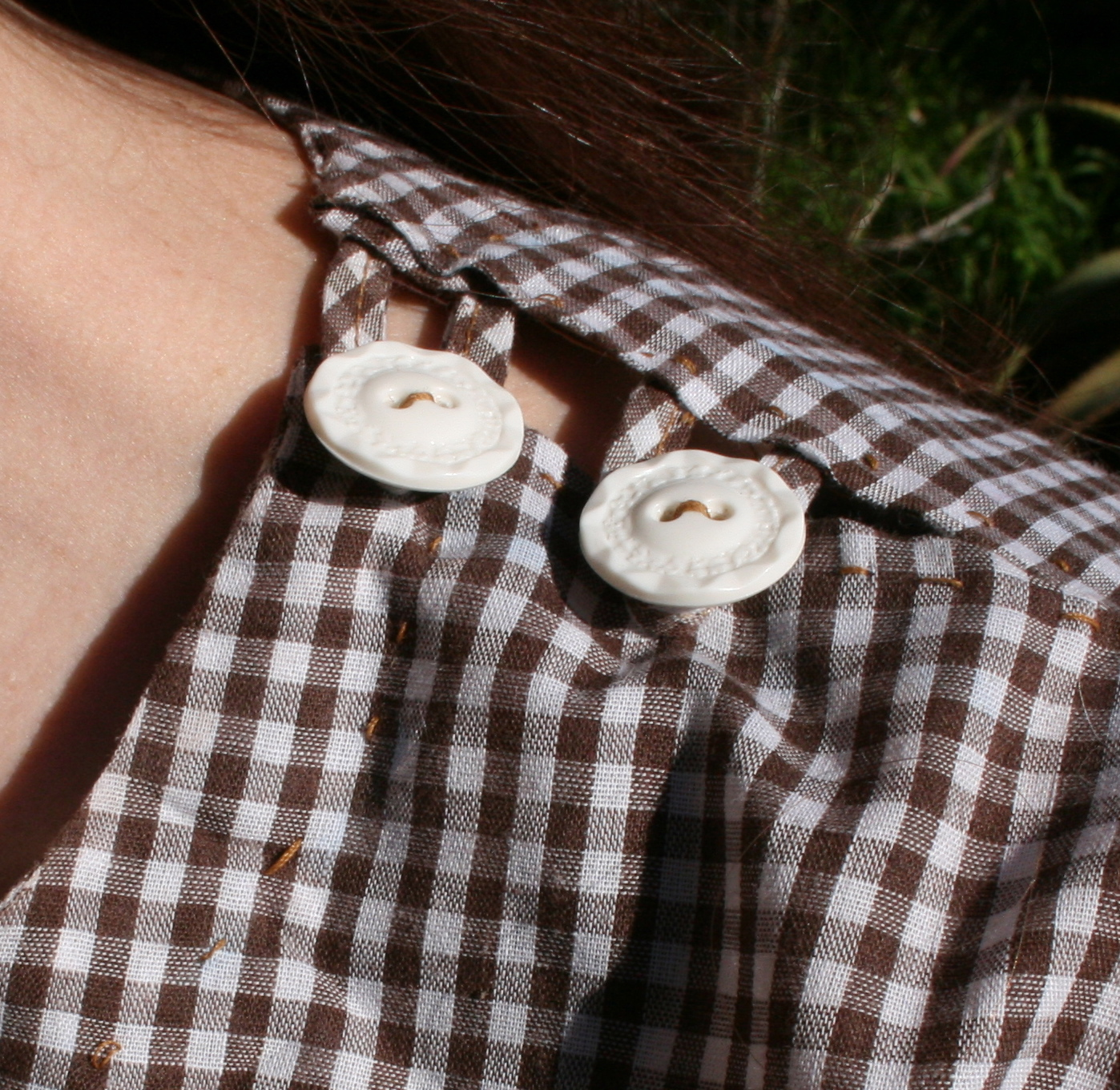 gingham buttons (close-up)