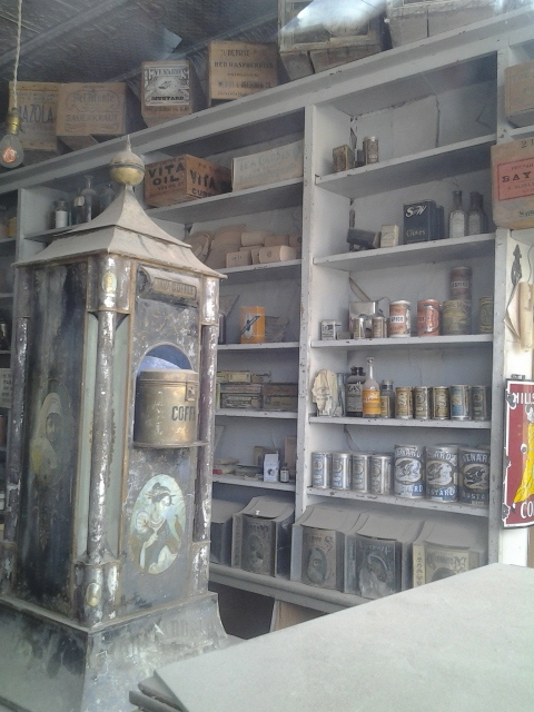 inside of the general store, still stocked with goods!
