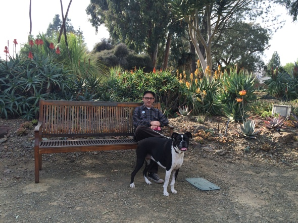 Herby and Derek rest in the Ruth Bancroft Garden